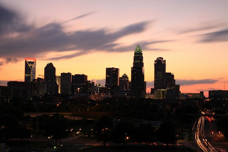 Charlotte skyline at dusk