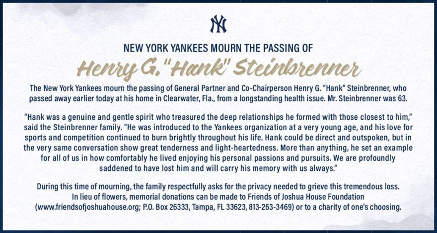 An obituary of Hank Steinbrenner posted by the New York Yankees