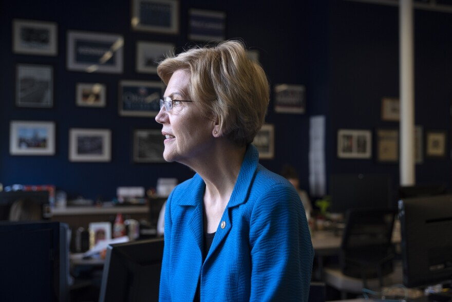 In her bid for the presidency, Sen. Elizabeth Warren, D-Mass., is pushing for a breakup of big tech companies, including Facebook and Amazon.