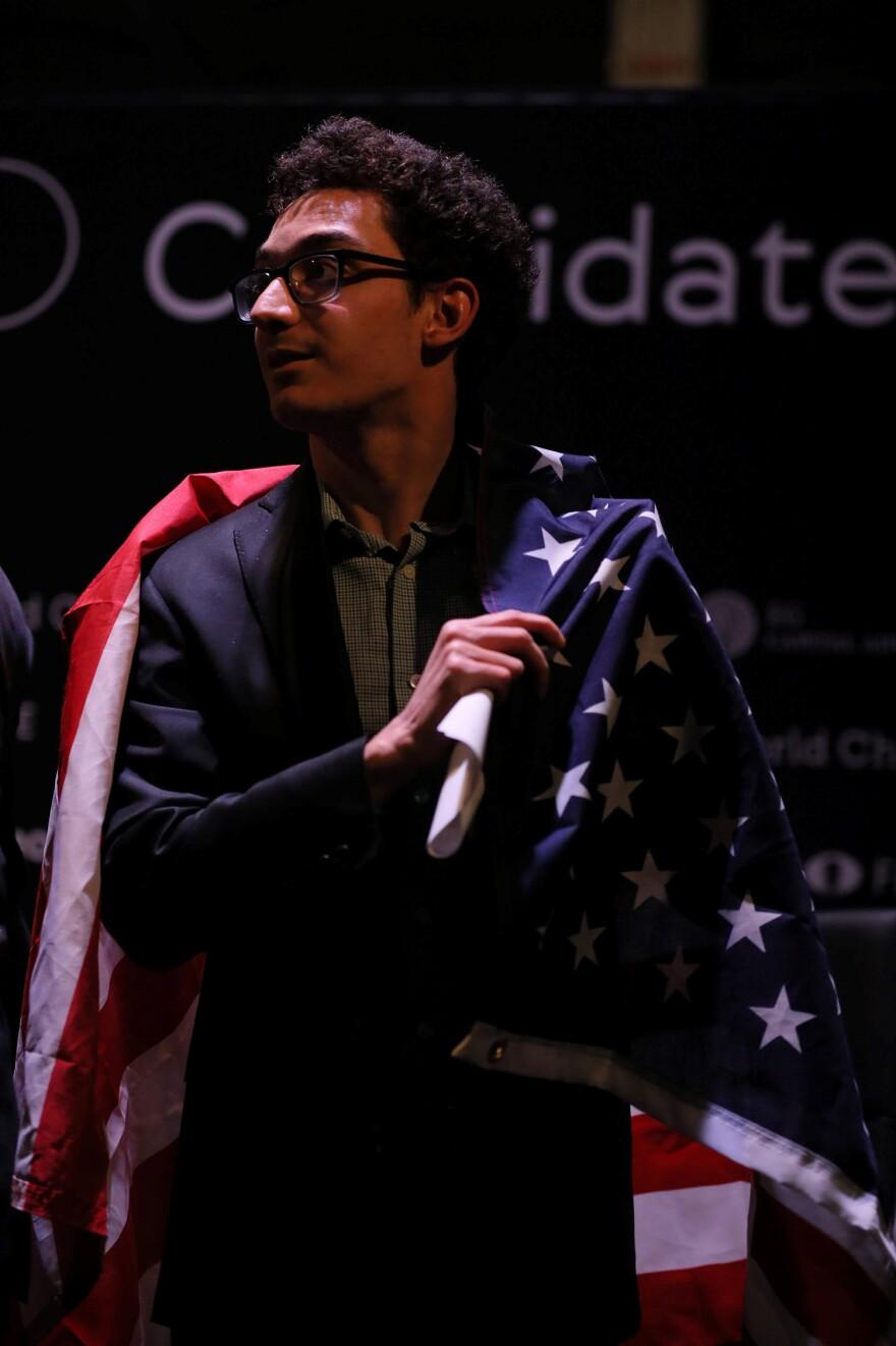 Fabiano Caruana draped in an American Flag, March, 2018