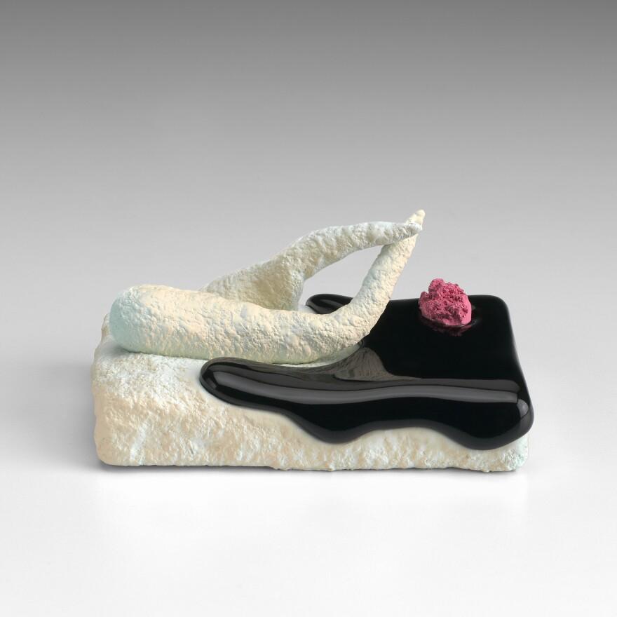 Ron Nagle, <em>Boston Scrambler,</em> 2015. Ceramic, glaze, catalyzed polyurethane, epoxy resin. 2 x 4 1/2 x 3 inches; 5 x 11 x 8 cm. Copyright Ron Nagle, Courtesy Matthew Marks Gallery.