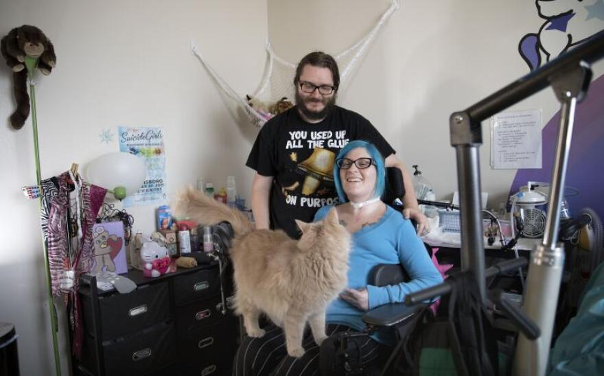 Ananda Bennett, a 30-year-old quadriplegic lives in a two bedroom apartment with her boyfriend, Sean Jargon and their cat Buff.