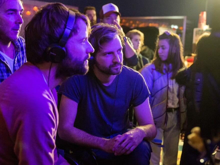 The Duffer brothers collaborate on the set of <em>Stranger Things 2.</em>