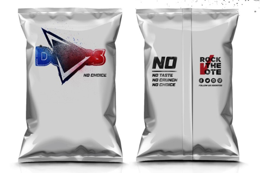 "A ""no choice"" flavored bag of Doritos, which will go to vending machine customers who haven't registered to vote. (Courtesy Doritos)"
