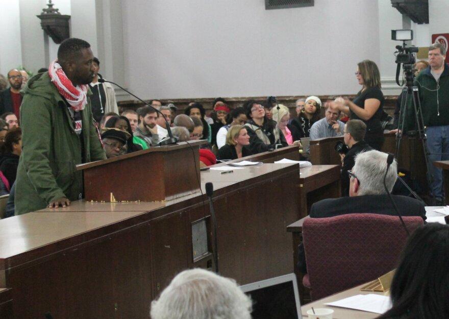 Tef Poe at civilian review board hearing 1.29.14
