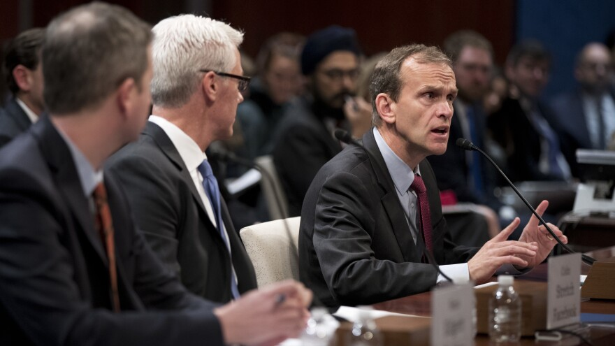 From left: Twitter's acting general counsel Sean Edgett, Facebook's general counsel Colin Stretch and Google's senior vice president and general counsel Kent Walker, testify before the House Intelligence Committee on Wednesday, Nov. 1, 2017.