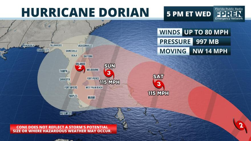 Hurricane Dorian could make landfall in Florida as a Category 3 hurricane. FLORIDA PUBLIC RADIO EMERGENCY NETWORK