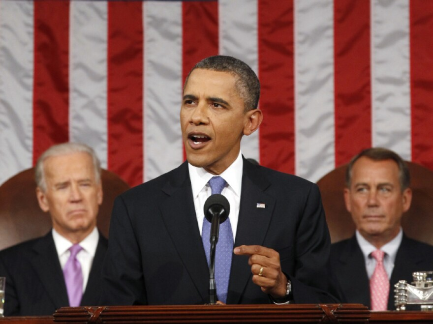 President Obama during his address this evening. Vice President Biden (on the left) and House Speaker John Boehner (R-OH) are behind him.