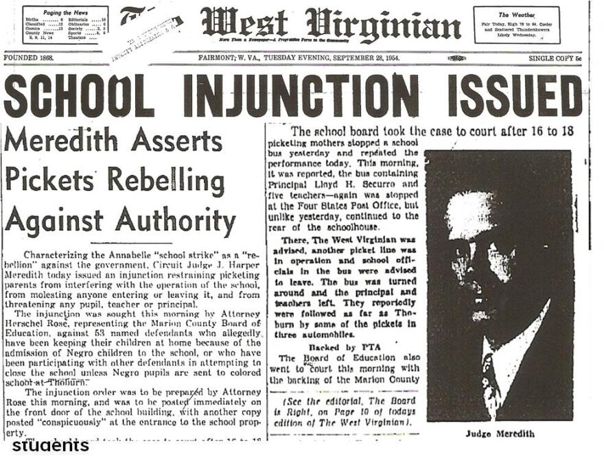 Newspaper article - School Injunction Issued