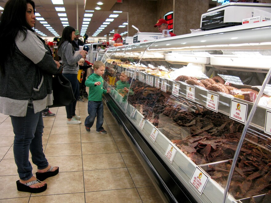 Customers line up at the jerky bar at Buc-ee's in New Braunfels, Texas. Buc-ee's bills itself as the largest convenience store in the world and sells 37 different kinds of jerky.