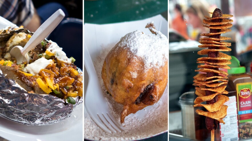 (Left to right) Rodeo concessions include the loaded potato; deep-fried chocolate cupcake and the Texas Tater Twister, a spiral-cut tater on a sausage, deep-fried.
