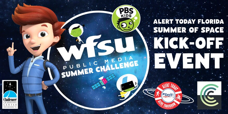 WFSU Summer Challenge Alert Today Florida Summer of Space Kick-off Event, Jet Propulsion from Ready Jet Go stands on left side of image