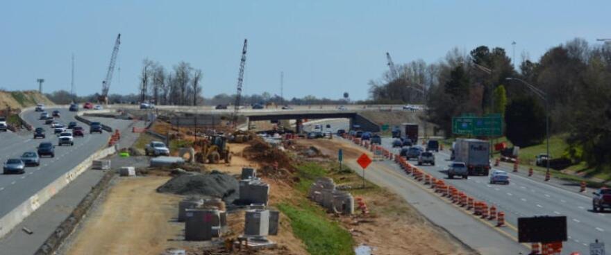 Construction on I-77 toll lanes near I-85 in April.