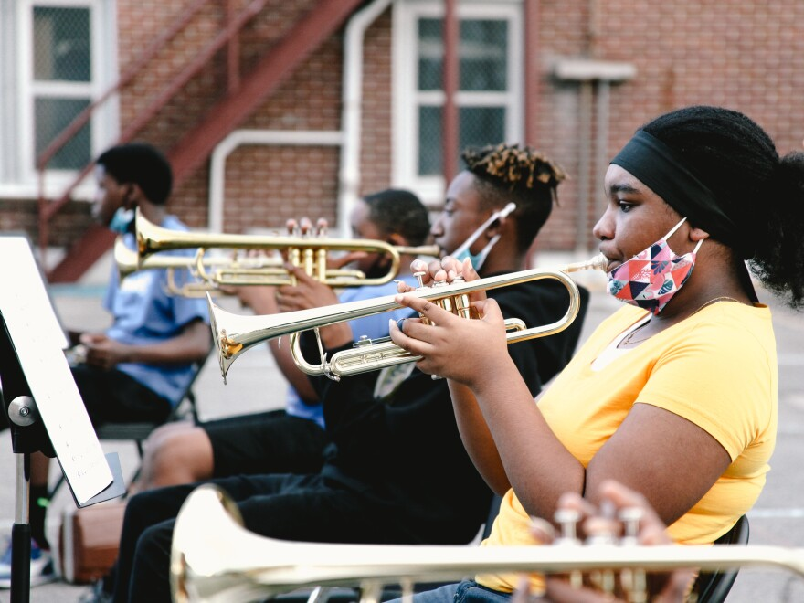 Students in The Roots of Music marching band are between the ages of 9 and 14. Many of the children attend public schools where music education is limited.