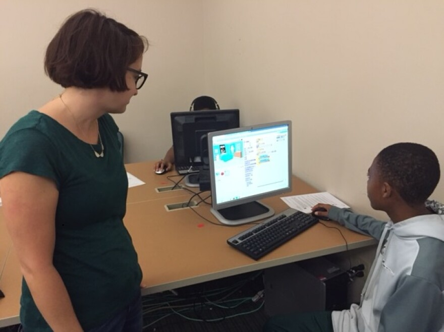 Shemuel Roberts and Meagan Bunnell work on a coding project at the Code Craft Lab in the Florida A&M University Developmental Research School.