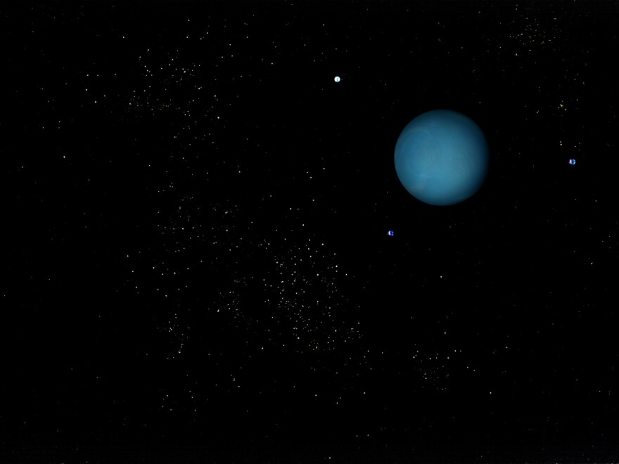 <strong>Icy planet</strong>: bottom of a glass containing half and half, water, food coloring. <strong>Moons</strong>: silica gel, food coloring. <strong>Stars</strong>: sugar, cinnamon, cumin.