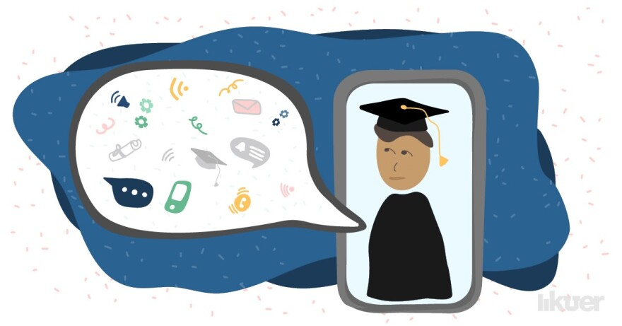 Photo illustration of a person in a graduation cap and gown talking on a smart phone screen
