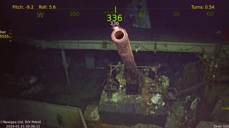 A weapon on the USS Hornet, which was found by researchers last month in the South Pacific Ocean.