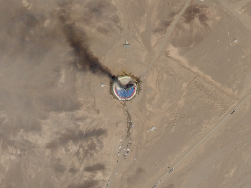 A satellite image from Thursday shows smoke billowing from a launch pad at the Imam Khomeini Space Center in northern Iran.