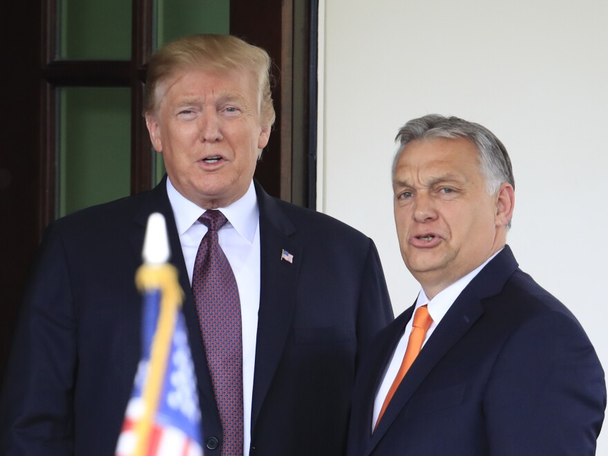 President Trump welcomes Hungarian Prime Minister Viktor Orban to the White House in Washington, D.C., on Monday.