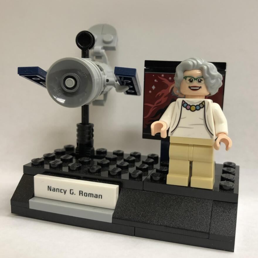 Lego honored Astronomer Nancy Grace Roman by including her figurine, shown next to the Hubble Space Telescope, in a set of groundbreaking NASA women.