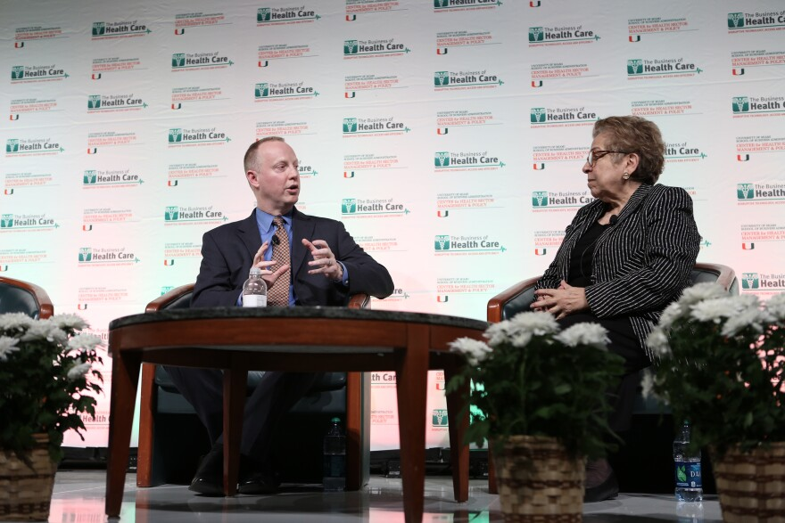 Patrick Conway, chief medical officer for the Centers of Medicare and Medicaid Services, speaking with Donna Shalala, president of University of Miami at the university's annual health care conference this year.