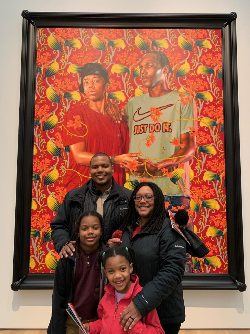 Eric Depradine, a Kansas City resident, with his family at the Saint Louis Art Museum.
