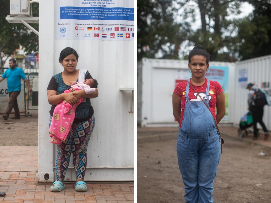 Left: Yuletsy Martinez, 19, is holding her 17-day-old daughter. She has a 1-year-old as well. Martinez has been living with her husband in a motel in Colombia for two months. Right: Stefanie Niño, 26, is seven months pregnant and has a second child who is 6 years old. Both women say they came to Colombia because they didn't have access to good prenatal care in Venezuela.