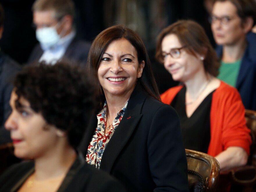 Paris Mayor Anne Hidalgo  (center) at a Paris council meeting in July after winning reelection.