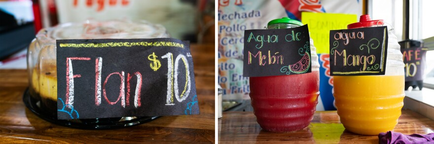 Hand-drawn signs, with prices in pesos, adorn items for sale on the counter, including flan and different types of juice.