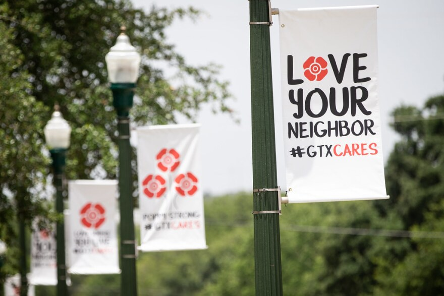 Banners in downtown Georgetown encourage unity during the coronavirus pandemic.