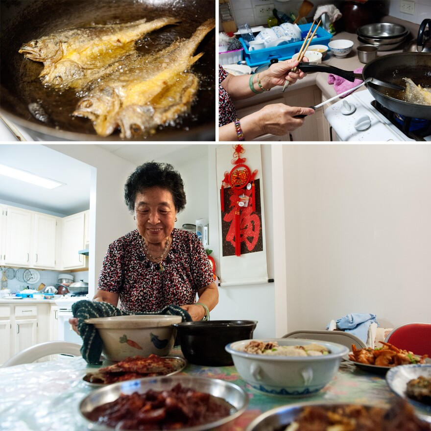 """Ni prepares and serves deep-fried yellow croakers and chicken soup with Chinese yams. Seafood was a staple in Ni's hometown of Fuzhou, China. """"Rich families would eat fish balls and fish dumplings often,"""" she says. """"But our family was not well-off, so we only had those during special festivities like Lunar New Year."""""""