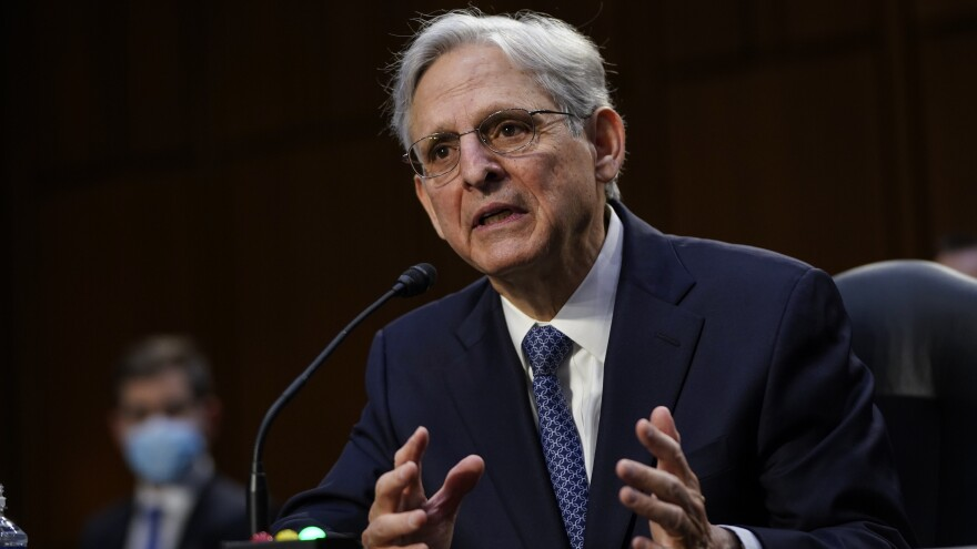 Attorney General nominee Merrick Garland testifies during his confirmation hearing before the Senate Judiciary Committee on Monday.