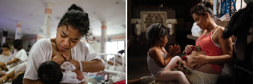 In 2017 (left), Ralyn Ramirez, then 17, had just given birth to her first child, a baby girl. She'd tell other teenagers that becoming a teen mom was not wonderful. But in 2019 (right), Ramirez became pregnant a second time.
