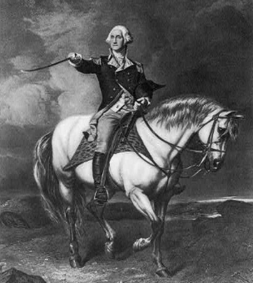 George Washington, full-length portrait, with right arm extended holding sword, on horseback.