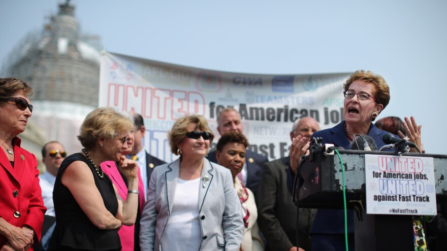 Rep. Marcy Kaptur, D-Ohio, and fellow Democratic members of Congress hold a news conference to voice their opposition to the Trans-Pacific Partnership trade deal.