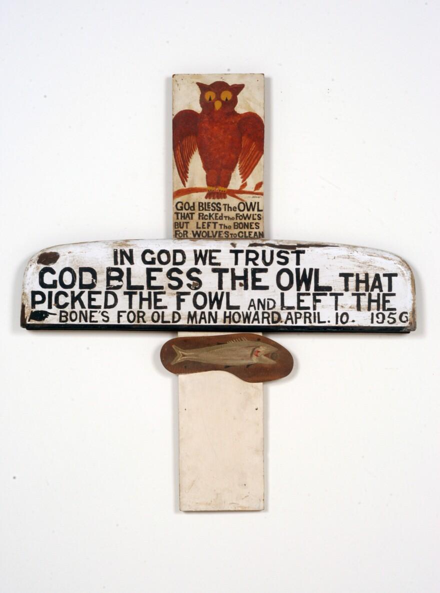 Jesse Howard, <em>Untitled (God Bless the Owl)</em>, 1956.