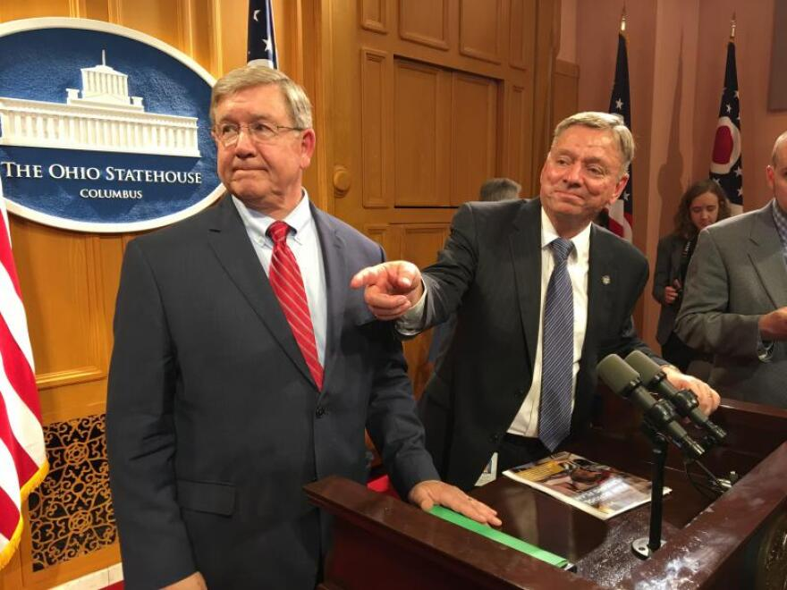 Rep. Bob Cupp (R-Lima, left) and Rep. John Patterson (D-Jefferson) talked about their school funding formula in a press conference in March 2019. Cupp became speaker in July 2020.