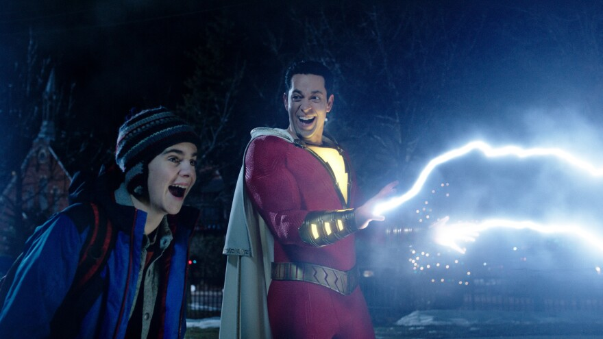 Let there be light...ness: Freddy Freeman (Jack Dylan Grazer) and ... well, he goes by many names, long story (Zachary Levi) forget their troubles, come on and get zappy in <em>Shazam</em>!