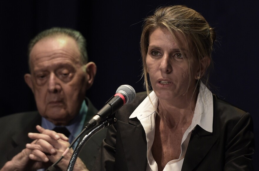 Argentine federal judge Sandra Arroyo Salgado, ex-wife of Argentine late prosecutor Alberto Nisman, offers a press conference on the results of the parallel investigation she ordered into his death, in San Isidro, Buenos Aires, on Thursday.