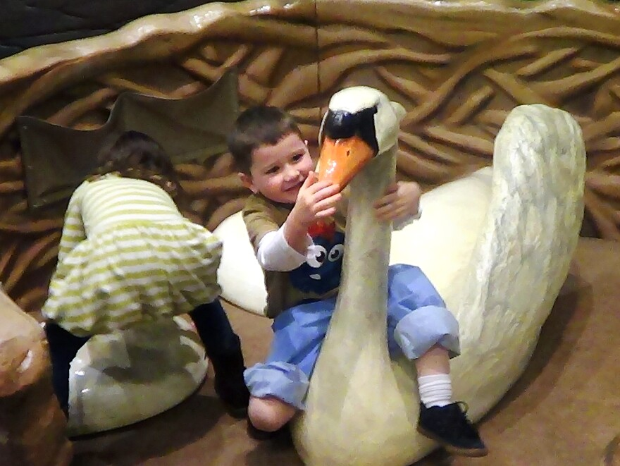 Dylan Murphy, 3, plays with a swan at the Please Touch Museum in Philadelphia. It was his first trip to a museum that didn't overwhelm him.