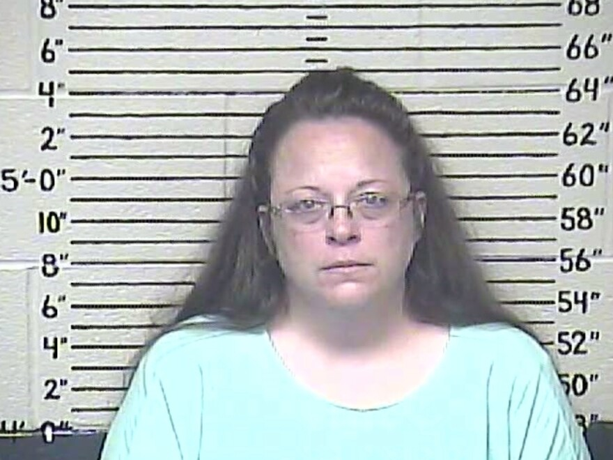 The Carter County Detention Center's mug shot of Kim Davis was taken Thursday. The Rowan County, Ky., clerk was jailed for refusing to issue marriage licenses in protest of the Supreme Court decision to legalize gay marriage.