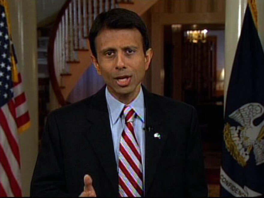 Then-Louisiana Gov. Bobby Jindal delivering the Republican Party's official response to then-President Barack Obama's address to a joint session of Congress on Tuesday Feb. 24, 2009.