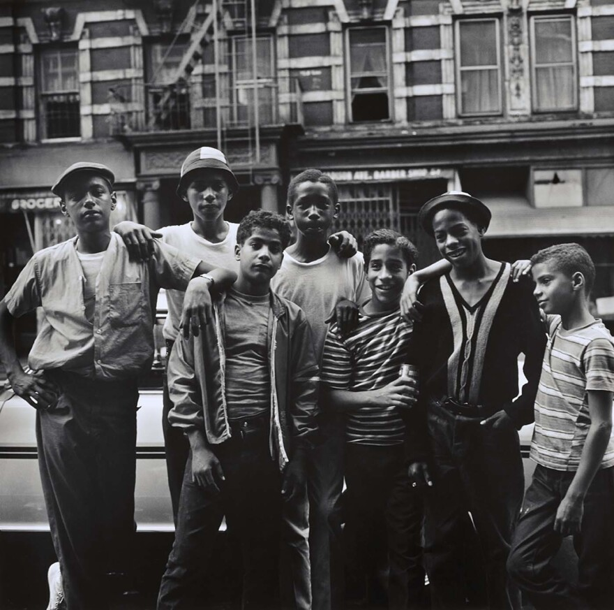 """Group of Young Men on 111th Street,"" 1966 — ""In some form or another they're all reaching, touching each other. That is something of a different generation,"" Maristany says. He says people ask him how he got them all to touch each other. ""'Did you instruct them to do that?' And I said, ""No I had nothing to do with that. It was the way they felt comfortable with each other."""