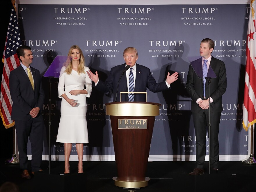 Donald Trump has promised to turn his company over to his three grown children — Donald Trump Jr. (from left), Ivanka and Eric — to run once he's sworn in.