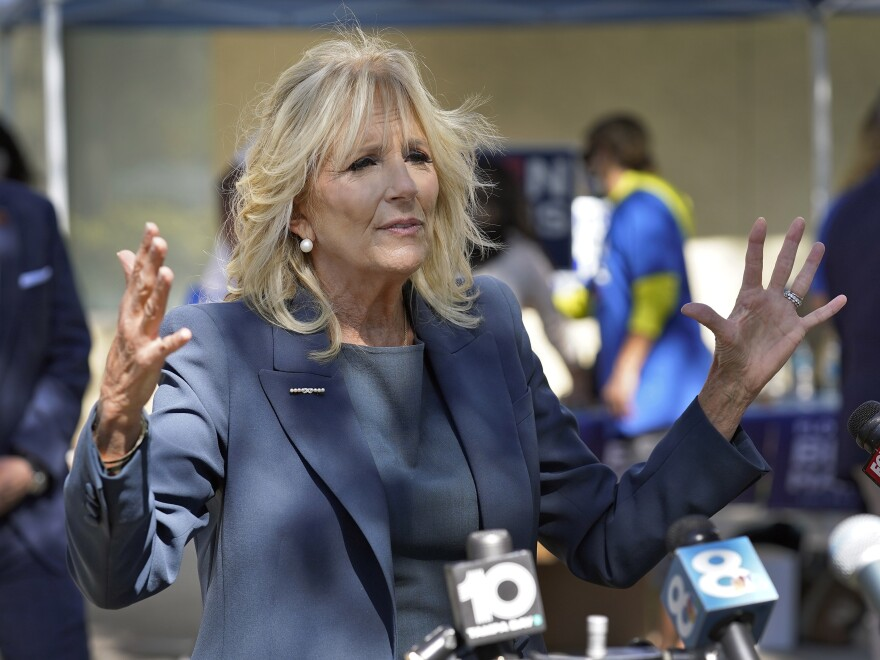 "Jill Biden, shown on the campaign trail in Nov. 2020, holds two master's degrees and a doctorate in education. An op-ed published in <em>The Wall Street Journal</em> asking her to stop using the title ""Dr."" has prompted widespread backlash."