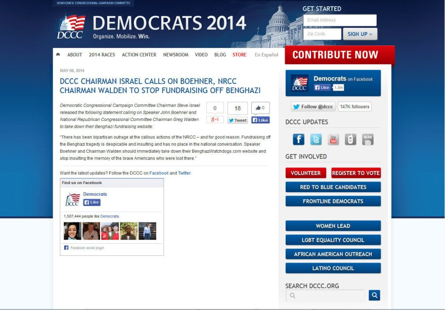 DCCC screen shot of Benghazi press release with contribution button in sidebar.