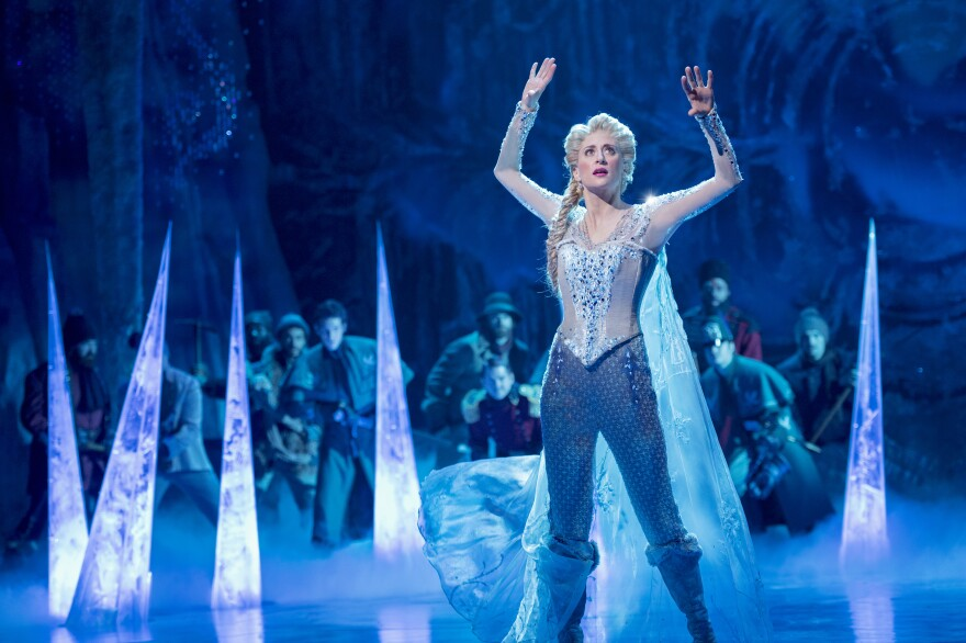 Caissie Levy performs as Elsa in the stage adaptation of <em>Frozen</em>, which opened on Broadway in 2018.