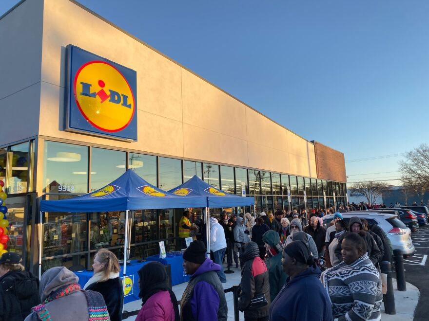 A line of customers waits Dec. 4, 2019, outside the new Lidl on Monroe Road in southeast Charlotte