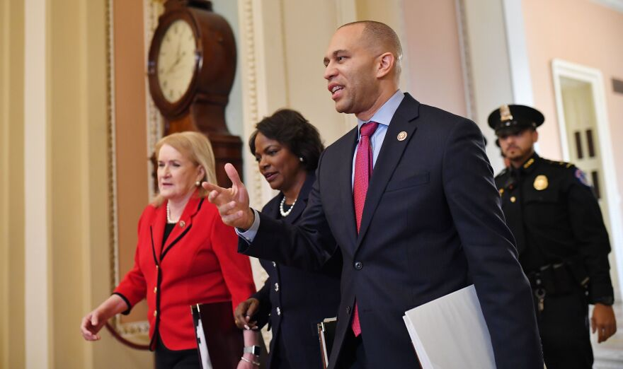 House impeachment managers Sylvia Garcia (from left), Val Demings and Hakeem Jeffries arrive at the Capitol on Thursday.